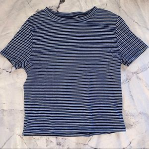 Striped H&M divided crop top